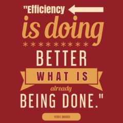 "Poster reads ""Efficiency is doing better what is already being done"" Peter Drucker"