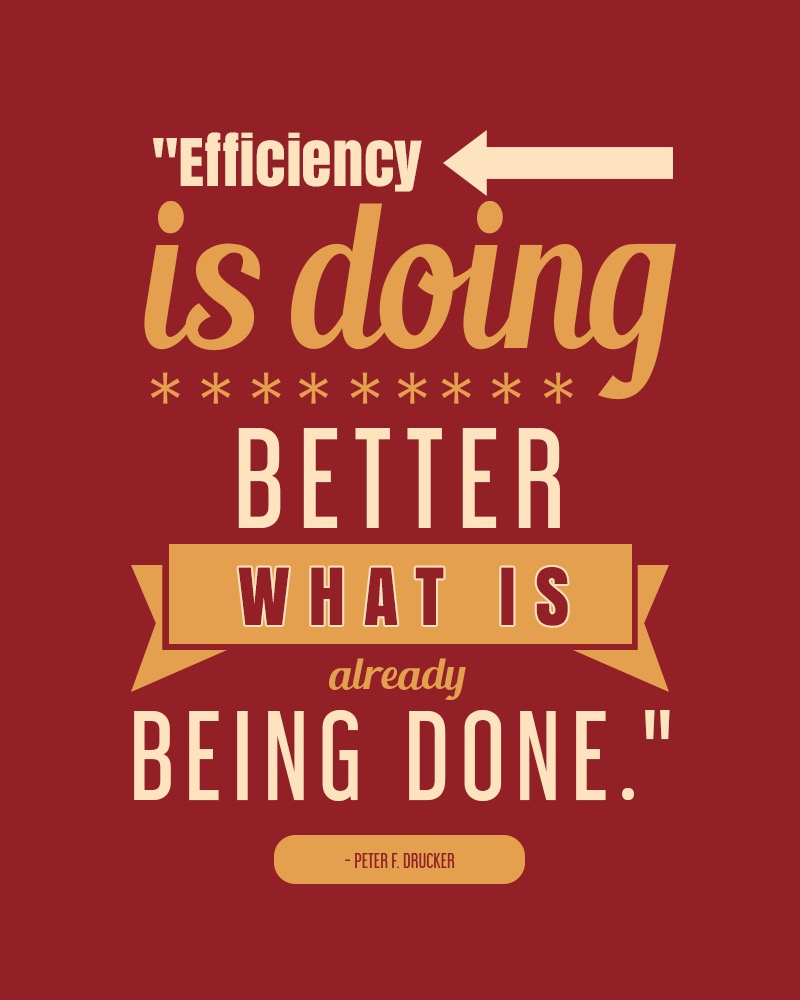 """Poster reads """"Efficiency is doing better what is already being done"""" Peter Drucker"""